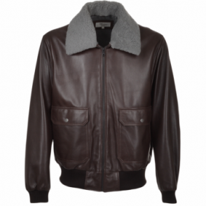 Leather Aviator Pilot Jacket With Removable Sheepskin Collar : D-brn/app : G-1 Victor