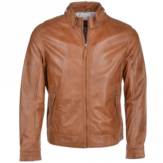 Ashwood Leather Biker Fashion Jacket Cognac/crun : Stelios
