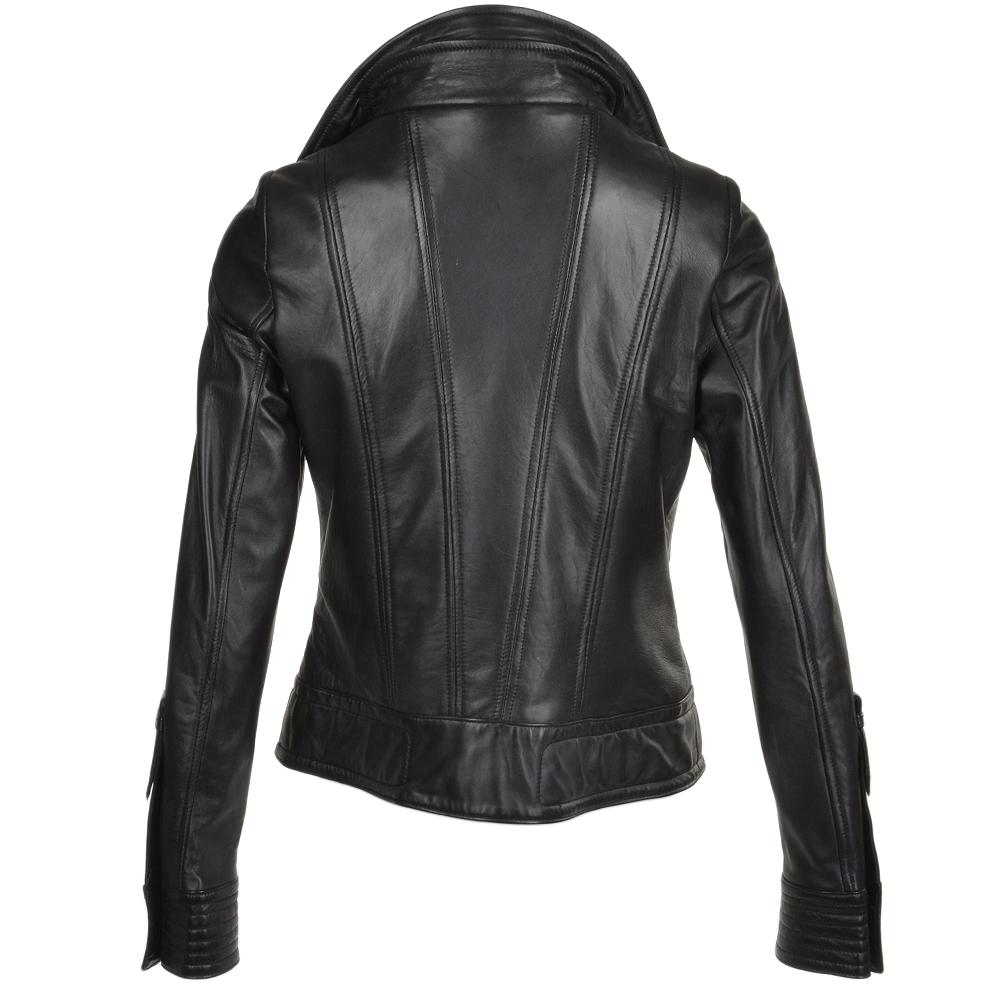 Womens Leather Biker Jacket Black / app : Milly