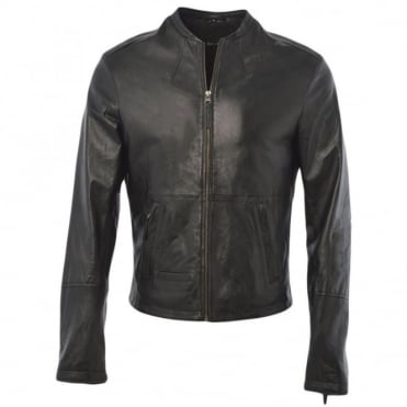 Leather Biker Jacket Black/nap : Ethan