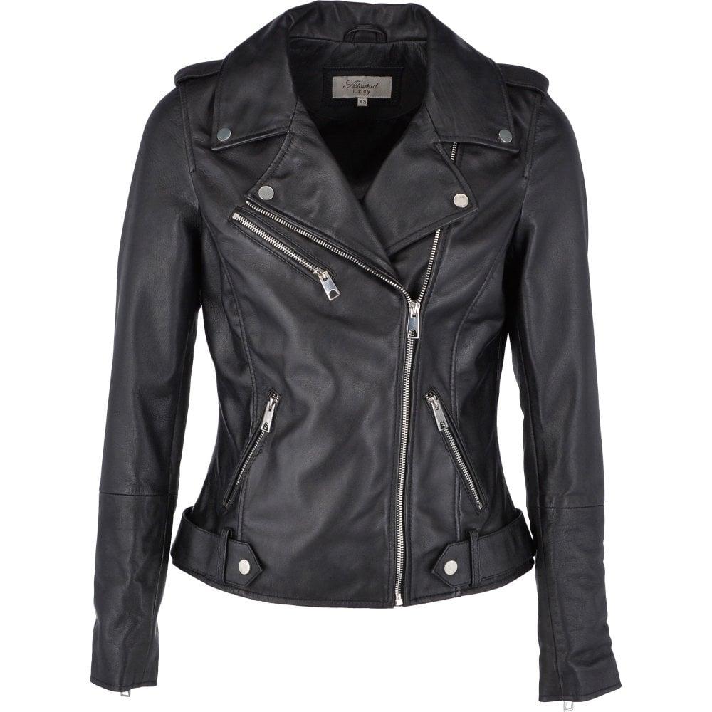 new release enjoy cheap price soft and light Leather Biker Jacket Black : Scarlett