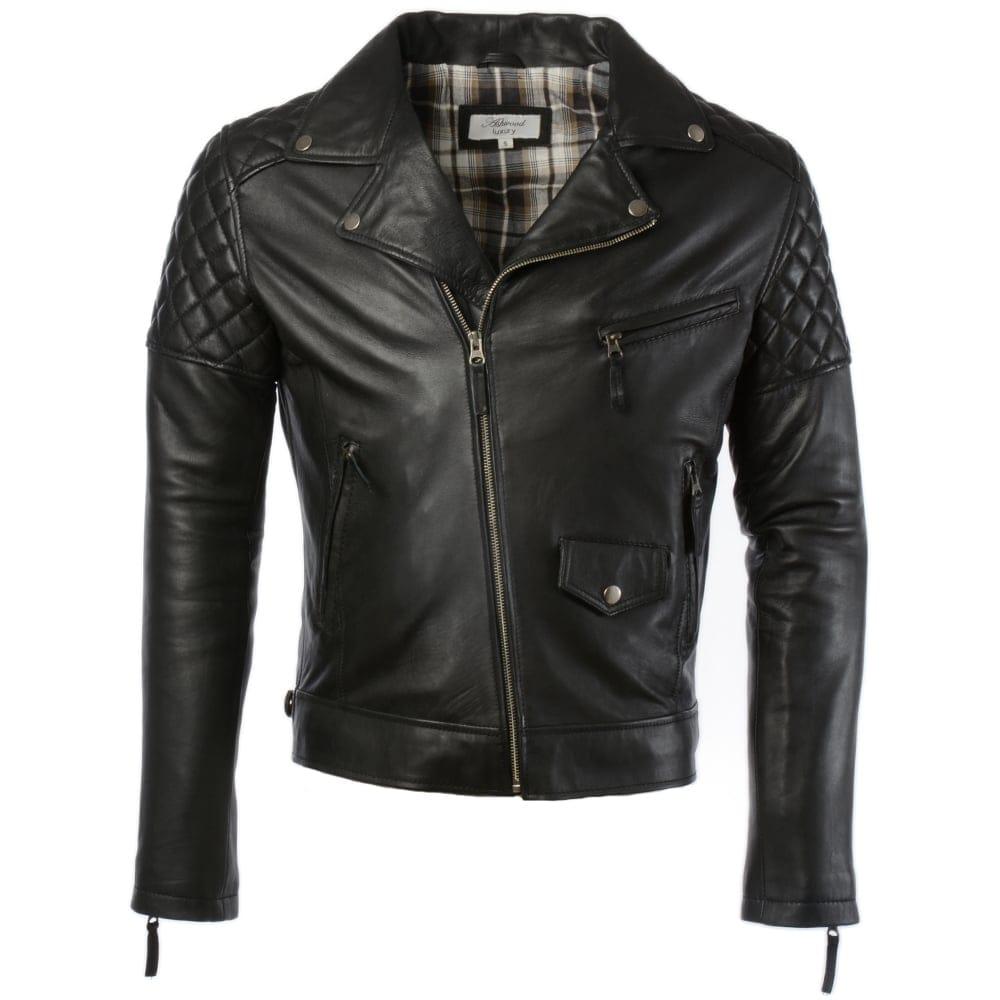 Mens Leather Biker Jacket Black Soltau Mens Leather