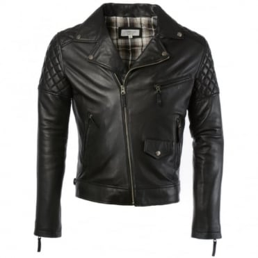 Leather Biker Jacket Black : Soltau