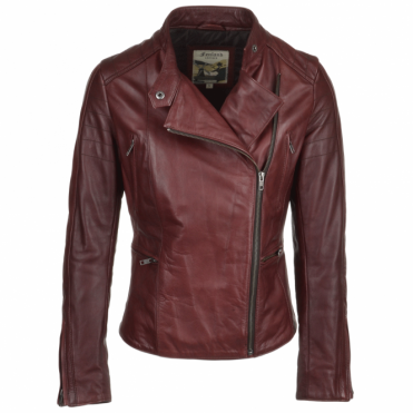 Leather Biker Jacket Bordeaux: Ebella