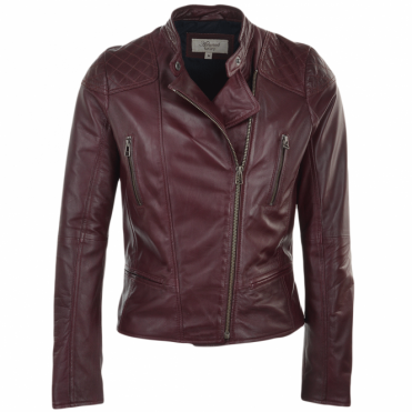 Leather Biker Jacket Bordeaux : Kasmira