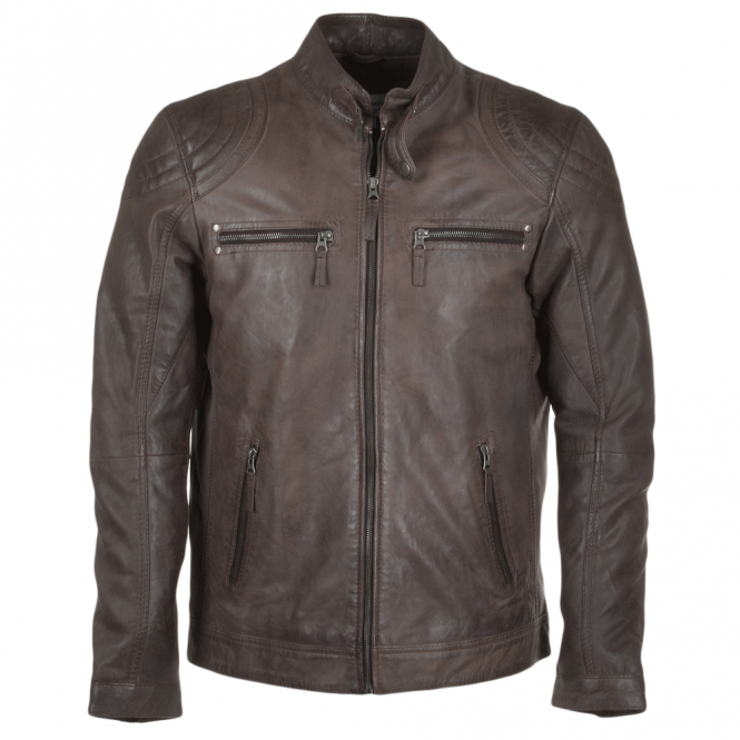 Ashwood Leather Biker Jacket Brown : Andraste