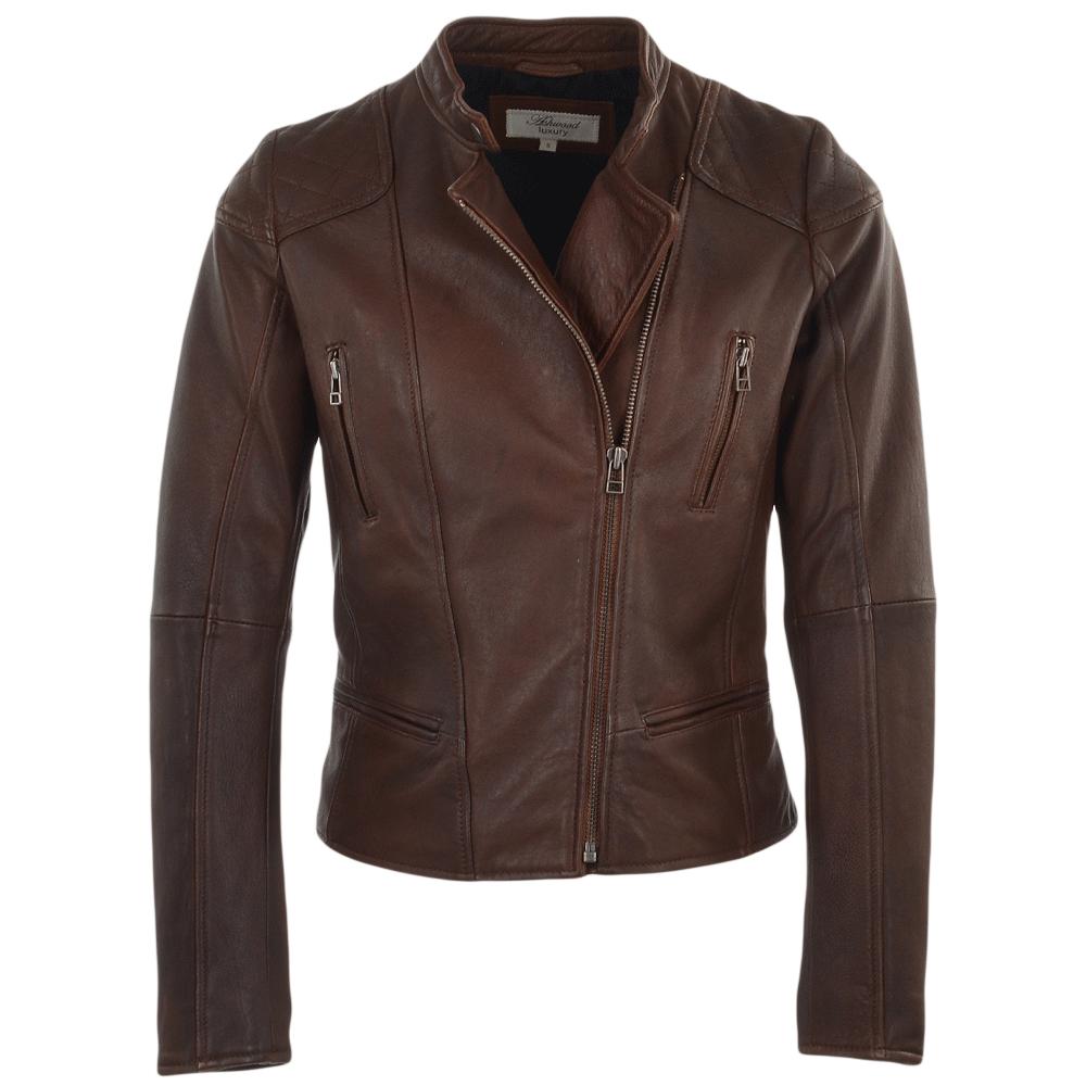 Womens Leather Biker Jacket Chestnut Kasmira