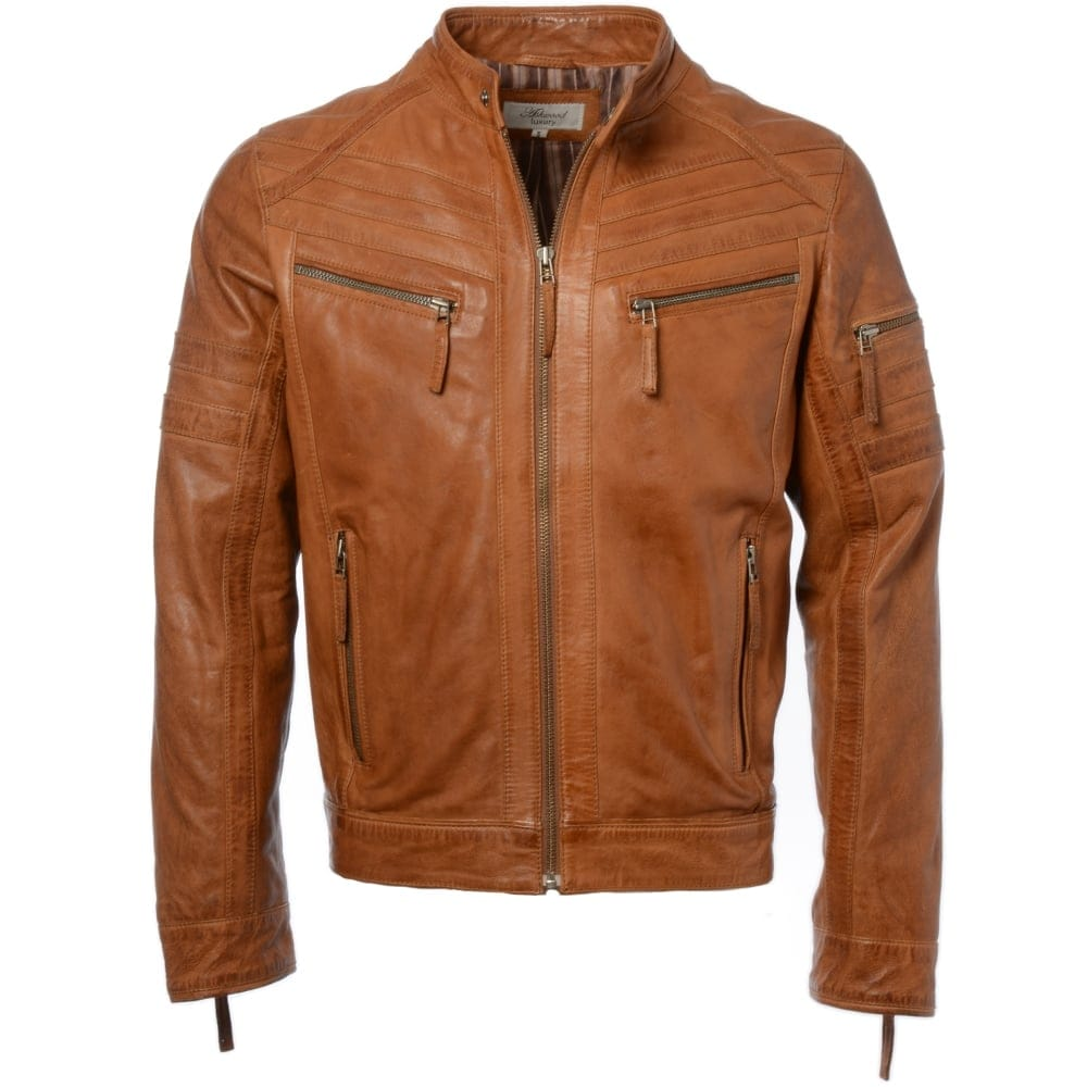 Mens Leather Biker Jacket Cognac App Midas Mens
