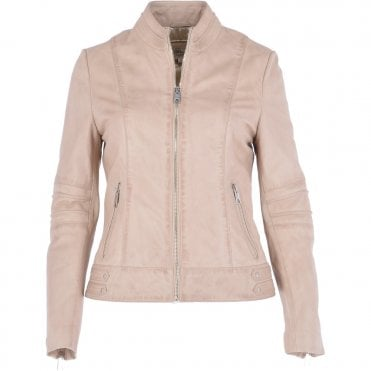 d229411fabdc Leather Biker Jacket Cream   Lillian