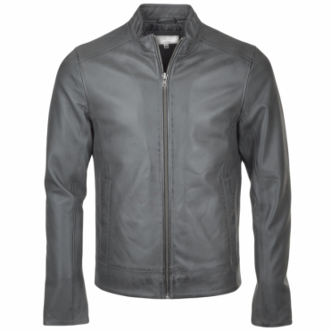 Leather Biker Jacket Gray : Vitteli