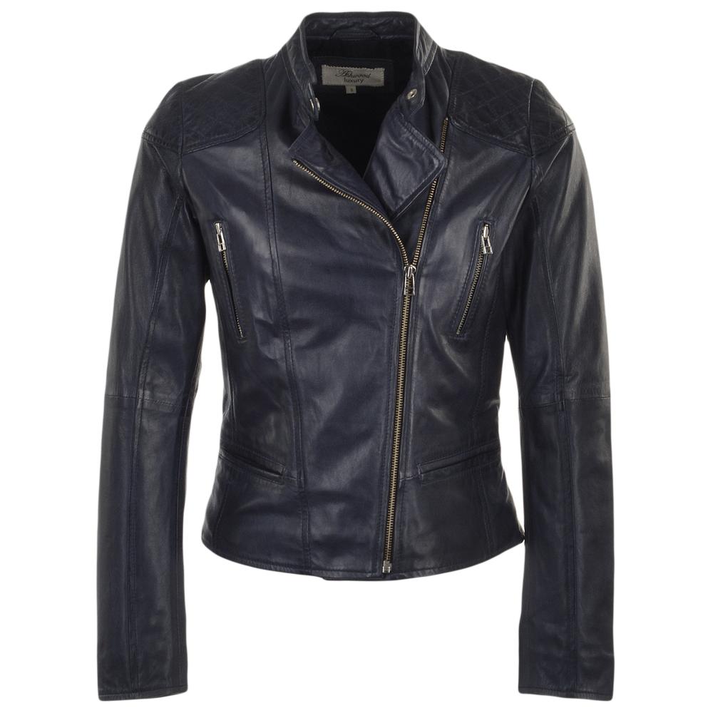 Womens Leather Biker Jacket Navy Kasmira