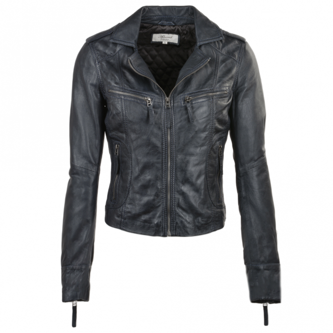 Ashwood Leather Biker Jacket Navy/nap : Britney