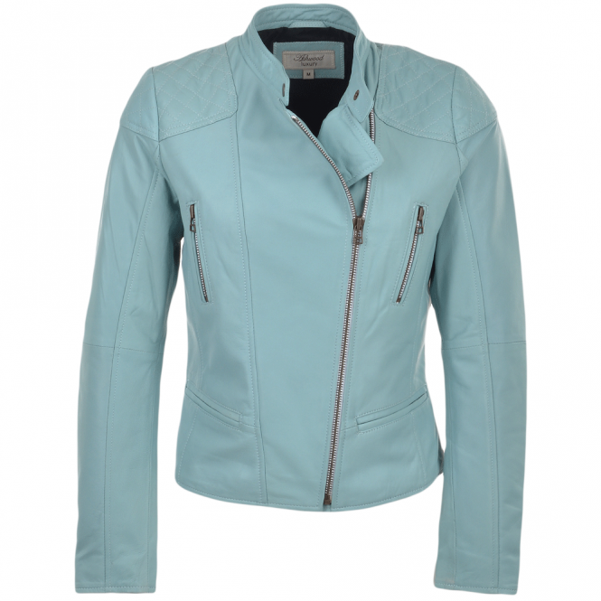 Ashwood Leather Biker Jacket Pale Blue : Kasmira