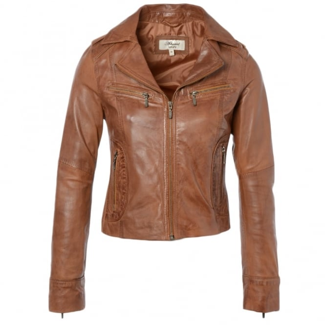 Ashwood Leather Biker Jacket Tan/app : Britney