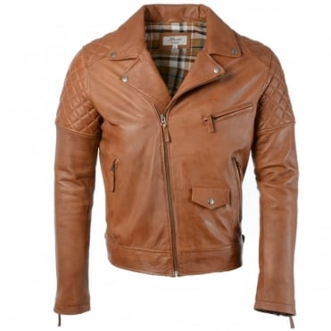 Leather Biker Jacket Tan : Soltau
