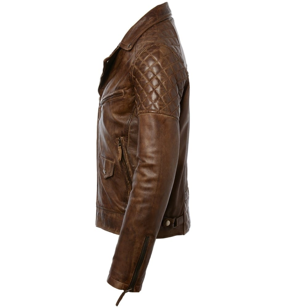 Mens Leather Biker Jacket Timber Soltau Mens Leather