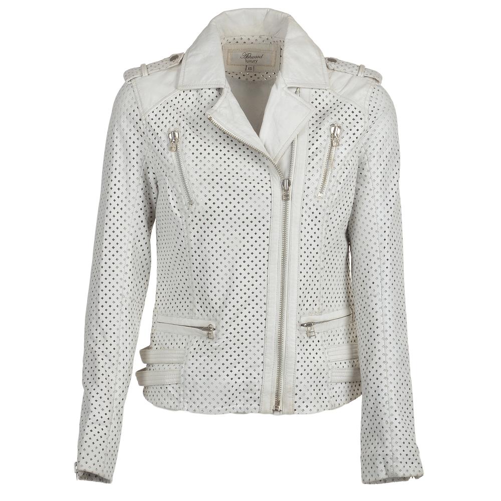 Womens Leather Biker Jacket White Aingeal