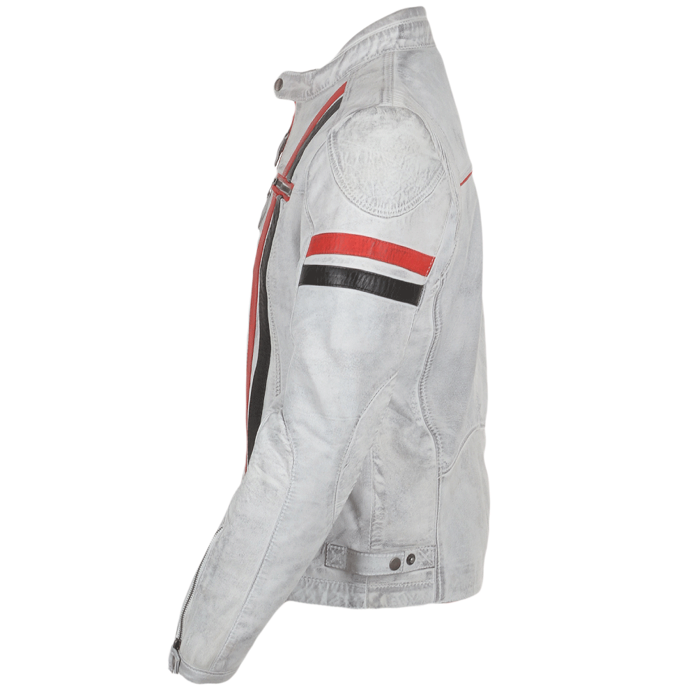 8506f8e0c Leather Biker Jacket White : Berlin