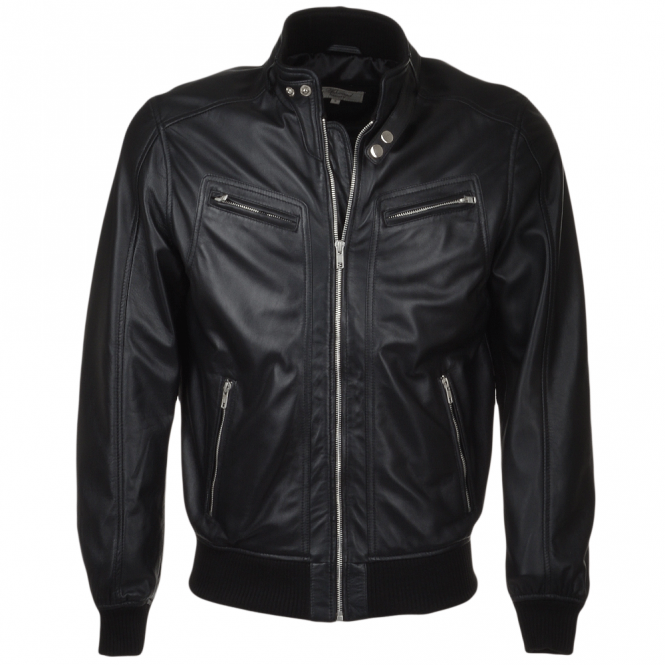 Mens Leather Biker Style Bomber Jacket Black Moston