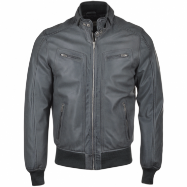 Leather Biker Style Bomber Jacket Gray : Moston
