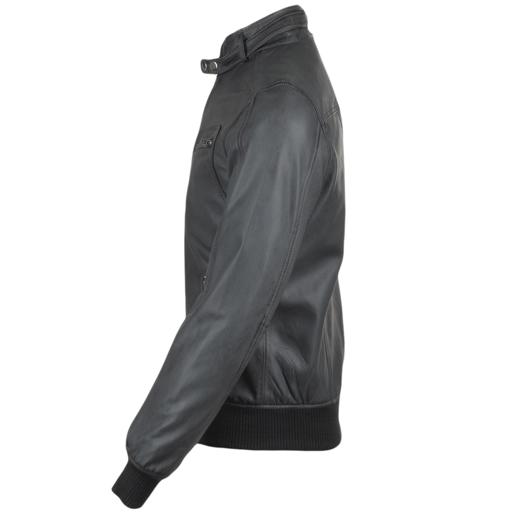 Mens leather look bomber jacket