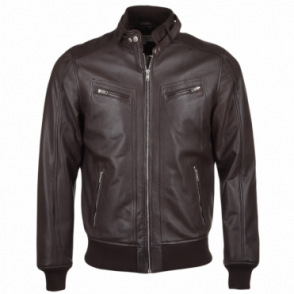 Leather Biker Style Bomber Jacket Mid Brown : Moston