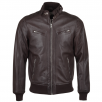 Ashwood Leather Biker Style Bomber Jacket Mid Brown : Moston