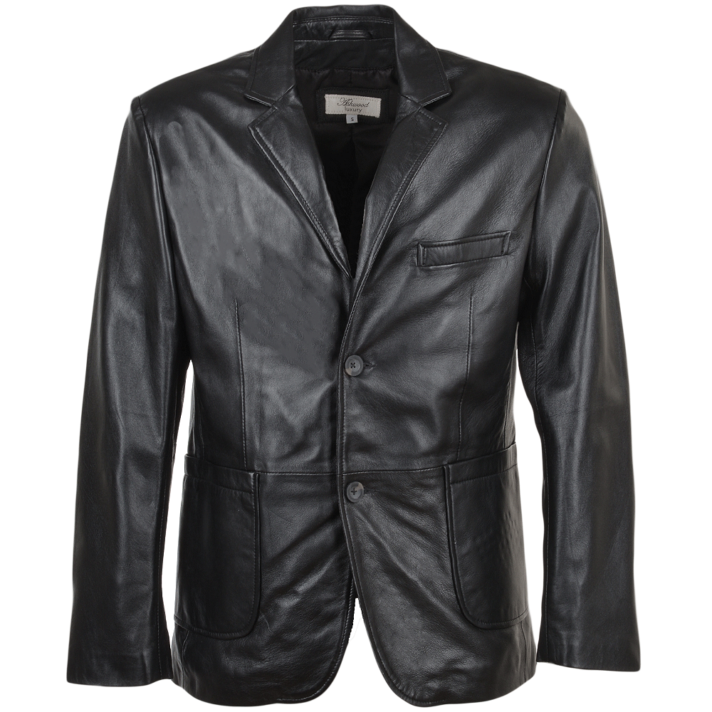 Blazers Jackets Mens: Mens Leather Blazer Jacket Black/nap : William