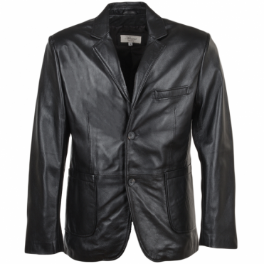 Leather Blazer Jacket Black/nap : William