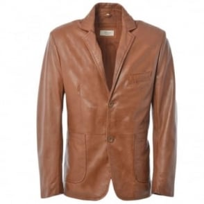 Leather Blazer Jacket Cognac/app : William