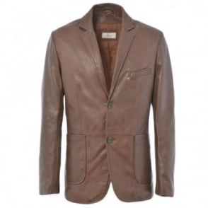 Leather Blazer Jacket Mid Brown/app : William