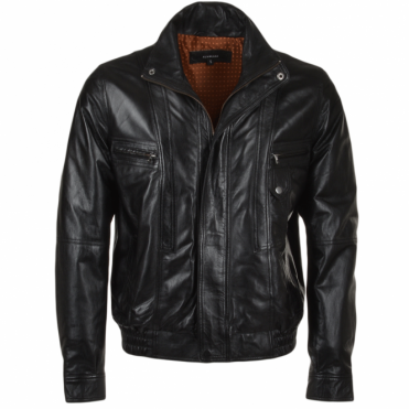 Leather Bomber Jacket Black/ani : Alfred