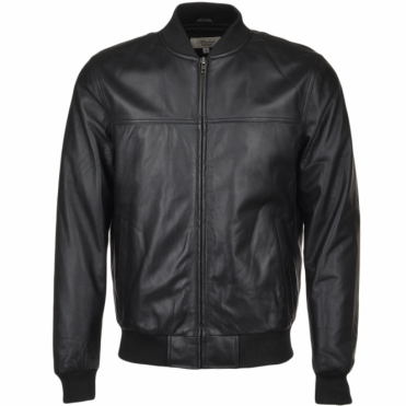 Leather Bomber Jacket Black : Danny