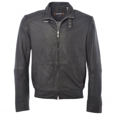 Leather Bomber Jacket Black : Robin