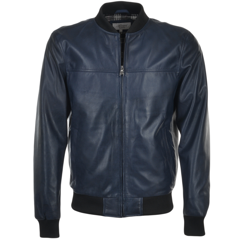 Mens Leather Bomber Jacket Dark Blue Danny