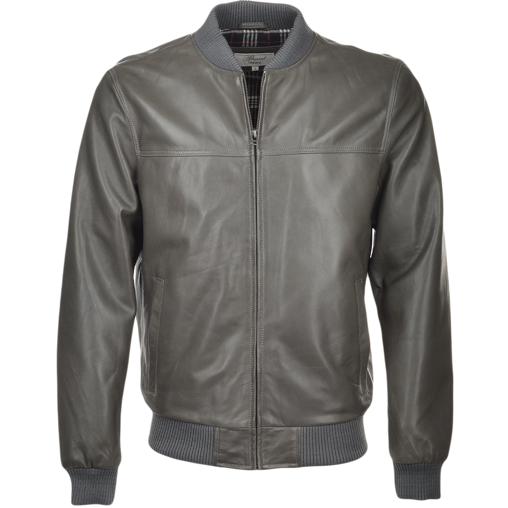 Grey leather bomber jacket
