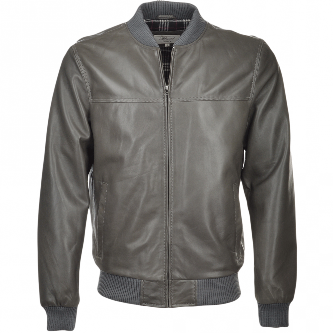 Mens Leather Bomber Jacket Grey Danny
