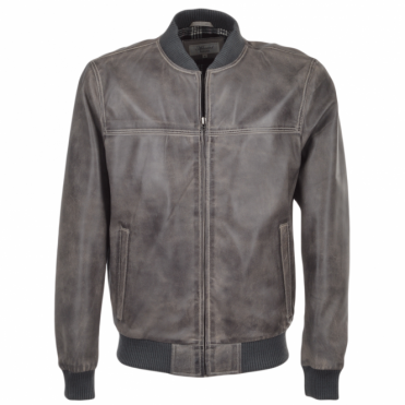 Leather Bomber Jacket Lt.Gray : Danny