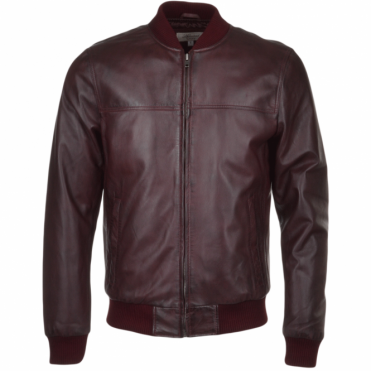 Leather Bomber Jacket Oxblood : Danny