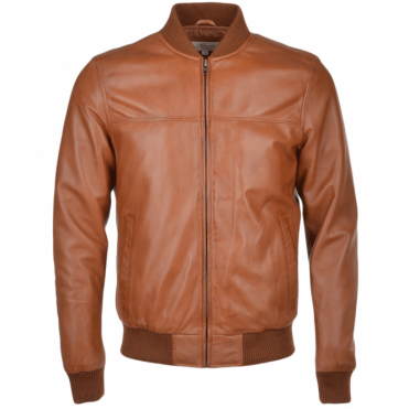 Leather Bomber Jacket Tan: Danny