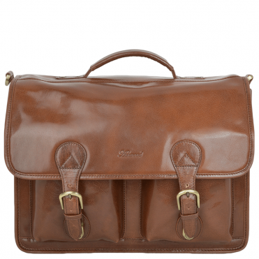 Leather Briefcase 8190 Chestnut/vt : 8190