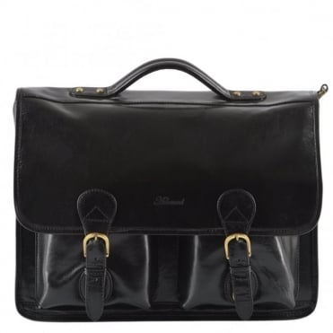 Leather Briefcase Black/vt : 8190