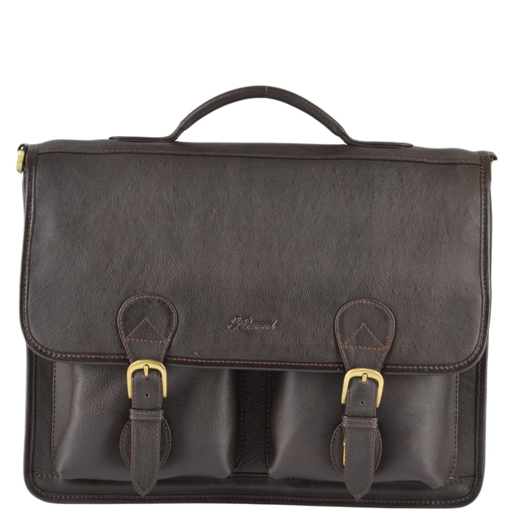 49f176b7192a Leather Briefcase Brown   8190