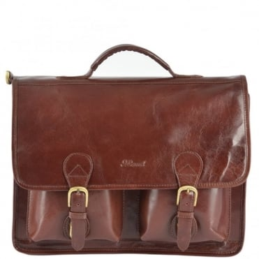 Leather Briefcase Cognac/vt : 8190