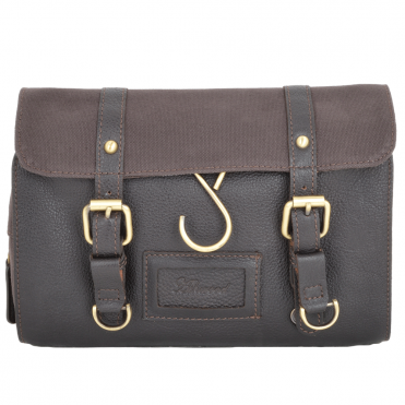 Leather & Canvas Hanging Toiletry Bag Brown/tum : 7010