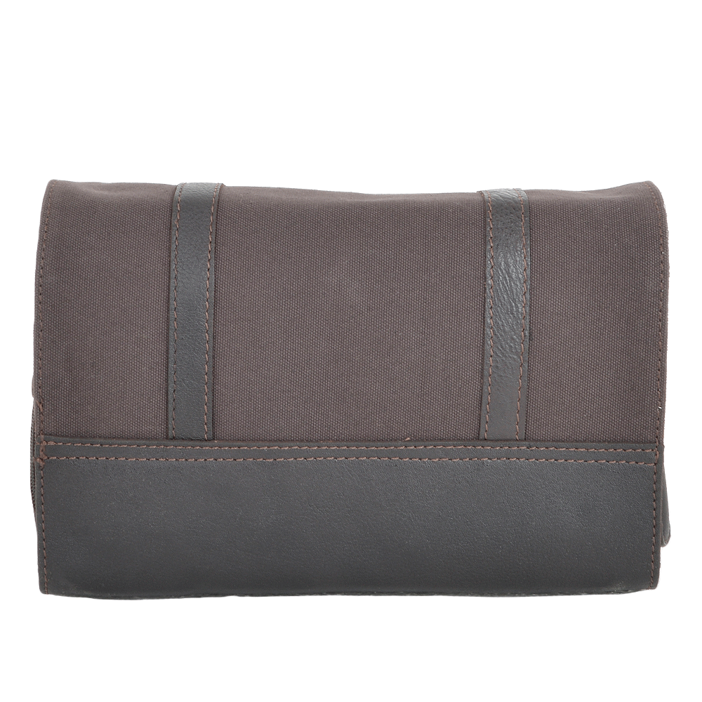 801ca028516 Leather   Canvas Hanging Toiletry Bag Brown tum   7010