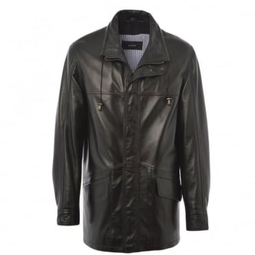 Leather Coat Black/ani : Ely