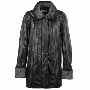 Leather Coat Black/ddy : Jacqueline