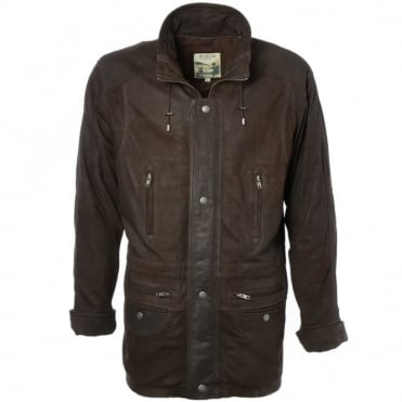 Leather Coat Brown/snu : Aberdeen Safari