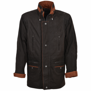 Leather Coat Dark Brown/nub : Aberdeen Safari